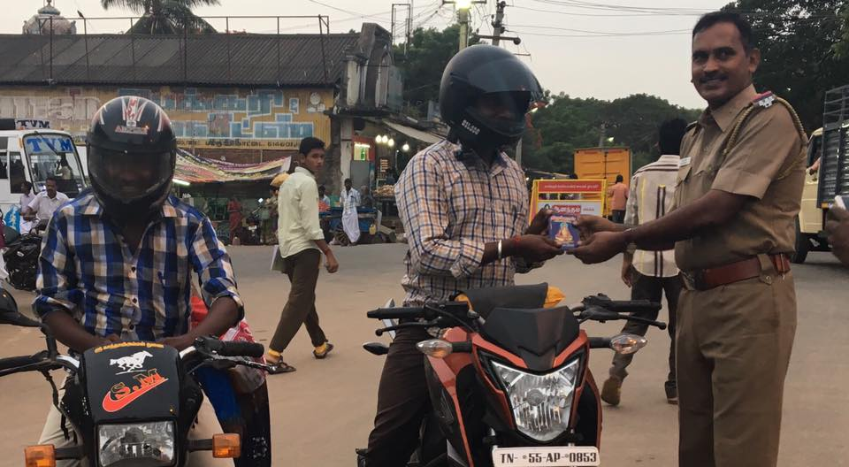 wearing helmet
